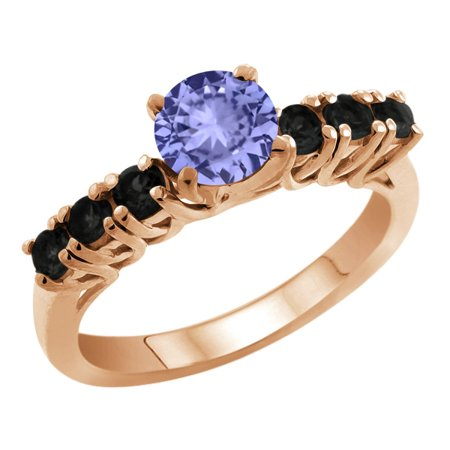 1.29 Ct Round Blue Tanzanite Black Diamond 18K Rose Gold Engagement Ring