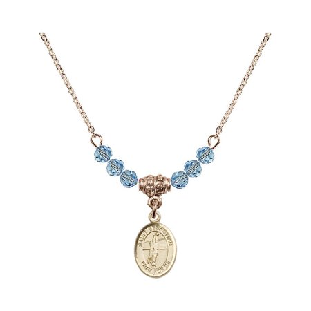 18-Inch Hamilton Gold Plated Necklace with 4mm Blue March Birth Month Stone Beads and Saint Sebastian / Volleyball Charm