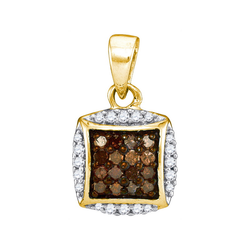 10K Yellow Gold 0.25ctw Glamorous Brown Diamond Micro Pave Cushion Pendant