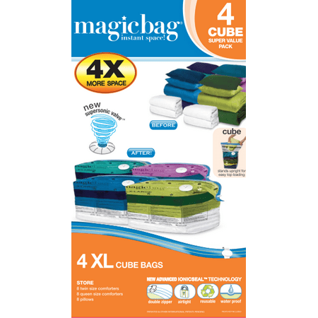 Magicbag Space Saving Vacuum Bag, Extra Large Cube, 4 (Best Space Saving Ideas For Small Apartments)