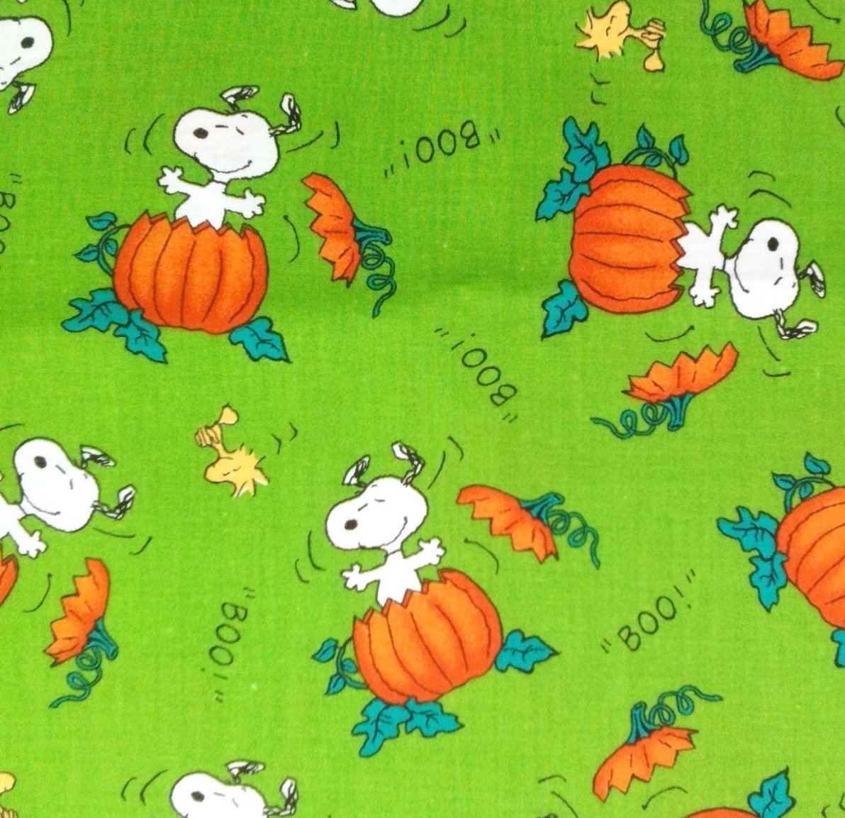 "1/2 Yard - Snoopy & Woodstock ""The Great Pumpkin"" on Green Halloween Fabric (Great for Quilting, Sewing, Craft Projects, Throw Pillows & More) 1/2 Yard.., By Peanuts"