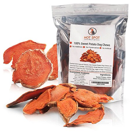 Natural Sweet Potato Dog Treats - No Fillers, Preservatives, or Harmful Ingredients - 15 Oz - Grain Free & Low Protein Diet for Sensitive Pets - Edible Tasty 100% Vegetarian Dog Chews-Made in USA