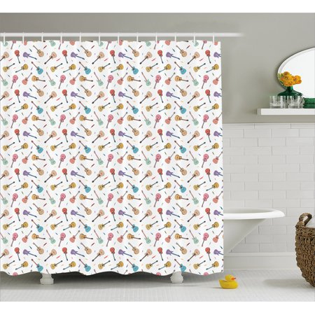 - Guitar Shower Curtain, Rhythm and Melody Pattern with Colorful Acoustic Guitars Country Music Songs Theme, Fabric Bathroom Set with Hooks, 69W X 70L Inches, Multicolor, by Ambesonne
