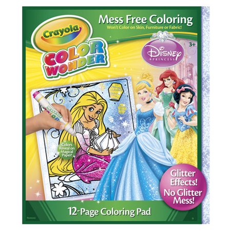 Crayola Color Wonder Glitter Coloring Pages and Markers, Princess ...