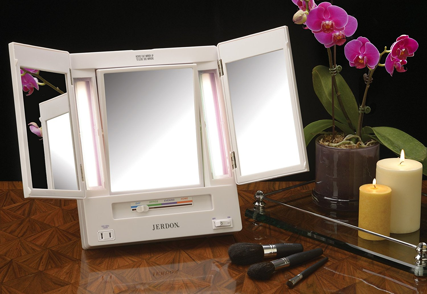 Jerdon tabletop tri fold 2 sided lighted makeup mirror with 5x jerdon tabletop tri fold 2 sided lighted makeup mirror with 5x magnification and 4 light settings white walmart aloadofball Image collections