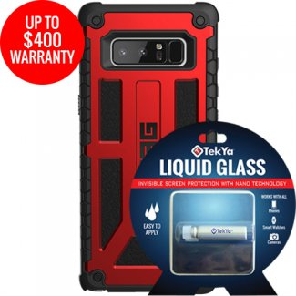 on sale b12a5 3090d SAMSUNG GALAXY NOTE 8 DOUBLE ADVANTAGE BUNDLE TEKYA LIQUID GLASS WITH UAG  MONARCH- CRIMSON