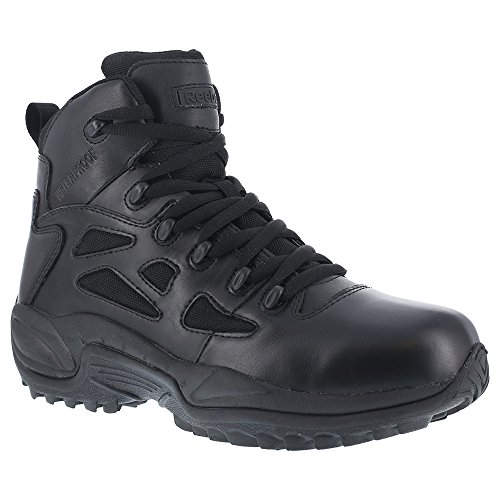 "Reebok Men's Stealth 6"" Lace-Up Water Resistant Side Zip Work Boot Black 11 D(M) US"