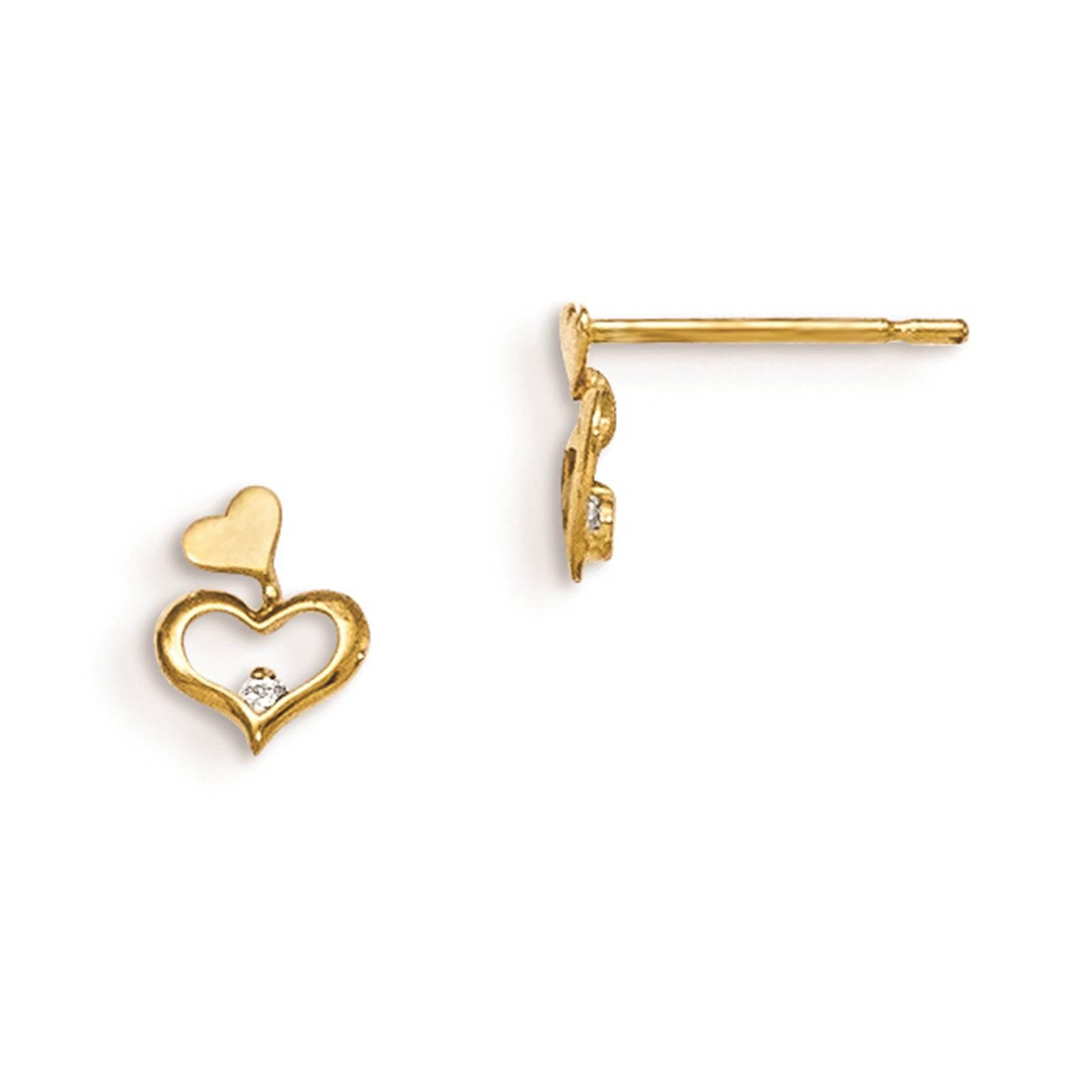 Madi K 14k Yellow Gold & Children's Heart CZ Post Polished Earrings