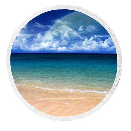 GCKG Blue Seashore Beach Round Beach Towel Beach Mats Beach Shawl Beach Blanket with Tassels Yoga Mat - image 3 of 3