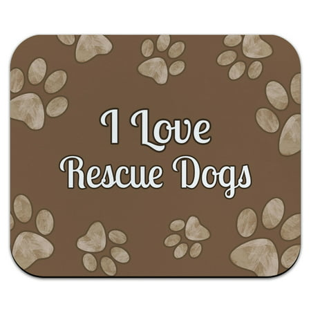 I Love Rescue Dogs Brown with Paw Prints Mouse Pad