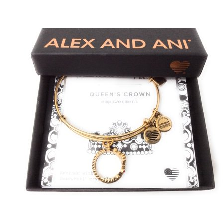 Alex and Ani Charity by Design, Queen's Crown Rafaelian Gold Bangle Bracelet