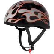 Skid Lid Lethal Threat Half Helmet Flames Red