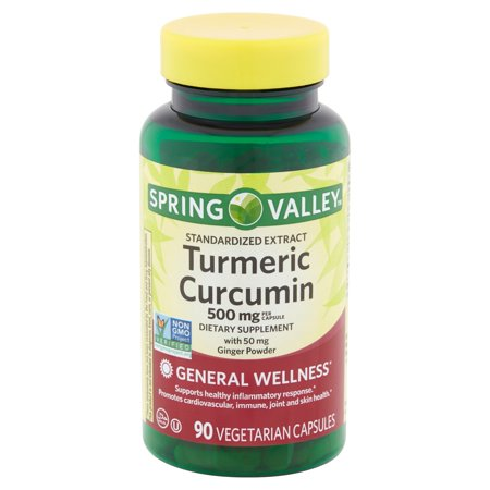 Off Cycle 90 Capsules (Spring Valley Turmeric Curcumin Vegetarian Capsules, 500 mg, 90 count )