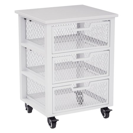 osp designs 3 drawer metal filing cart white