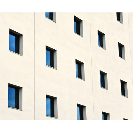 Ken Welsh   Design Pics Stretched Canvas Art   Windows In An Office Building   Medium 16 X 13 Inch Wall Art Decor Size