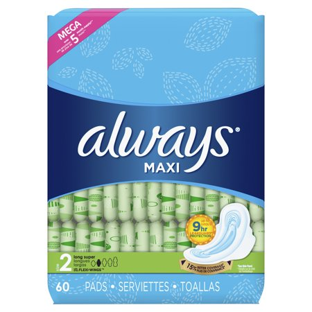- Always Maxi, Size 2, Super Pads With Wings, Unscented (Choose Count)