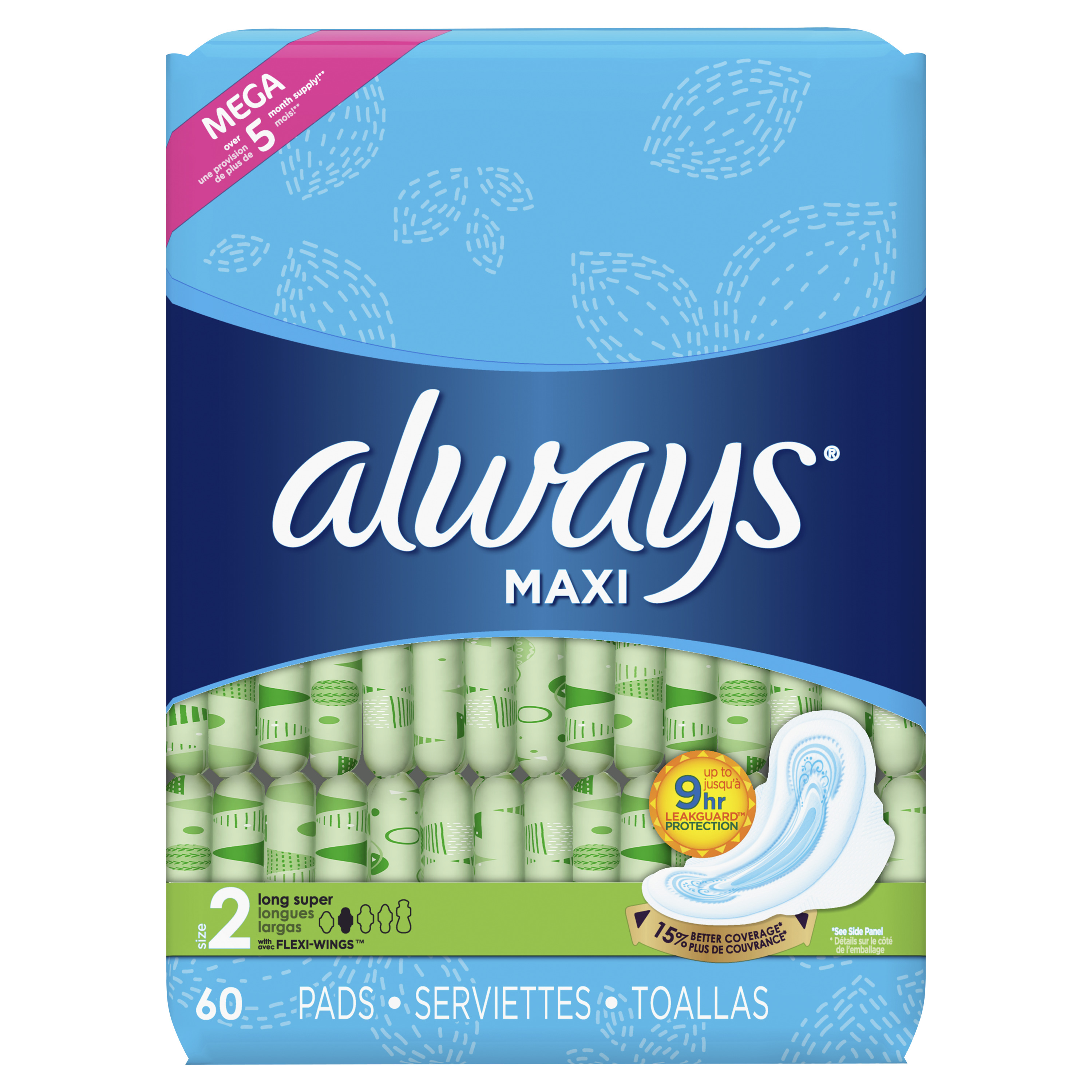 Always Maxi, Size 2, Super Pads With Wings, Unscented (Choose Count)