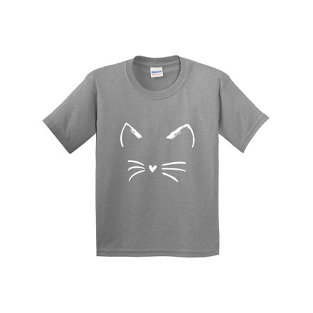 New Way 1127 - Youth T-Shirt Cat Whiskers Silhouette Heart Nose Medium Heather Grey (Cat Nose And Whiskers For Halloween)