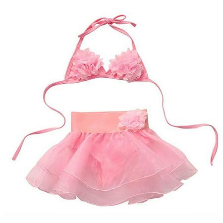 Skirted Halter Bikini (Baby Girl Pink Swimsuit Flower Halter Top And Tutu Skirt Tankini Bikini Set )