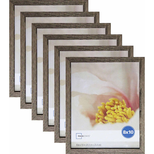 "Mainstays Linear 8"" x 10"" Rustic Frame, Set of 6"