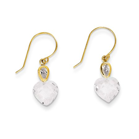 ICE CARATS 14kt Yellow Gold Clear Cubic Zirconia Cz Heart Drop Dangle Chandelier Earrings Love Fine Jewelry Ideal Gifts For Women Gift Set From Heart for $<!---->