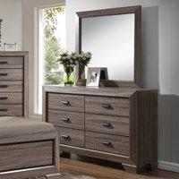 K&B Furniture Brown Wood Bedroom Dresser with Optional Mirror