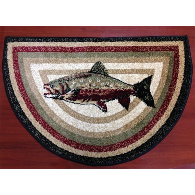 IMS 28625620832640 Hearth Rug Wild Life Bass Fish Design Lodge Cabin Fireplace 2 x 3 ft. by IMS