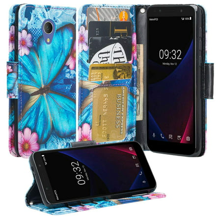 For Tracfone Alcatel TCL LX (A502DL),Alcatel 1X Evolve,IdealXTRA (5059R) Case [Kickstand] Pu Leather Wallet Case ID & Credit Card Slot for Alcatel TCL LX / 1X Evolve - Blue Butterfly ()