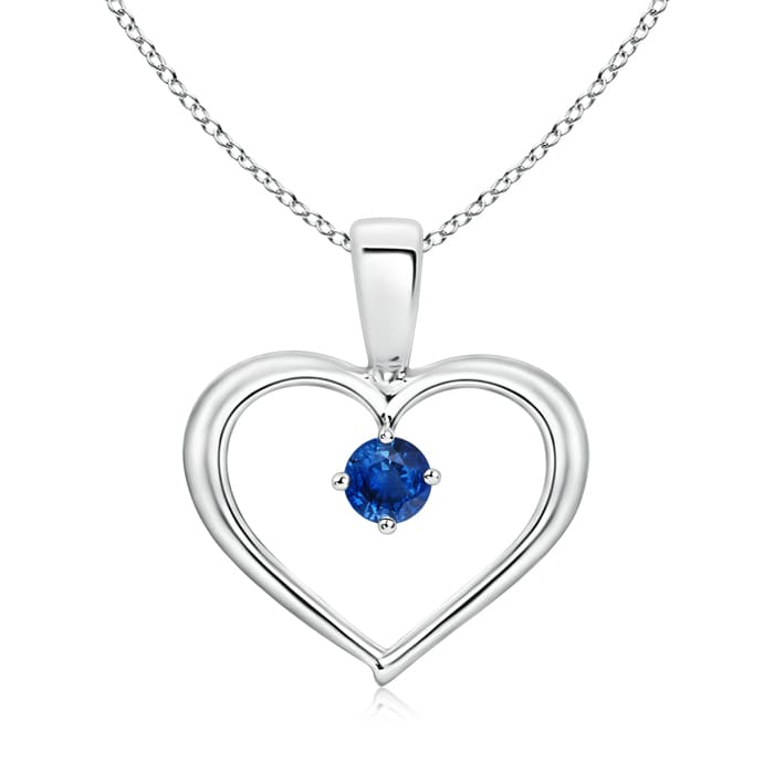 Solitaire Round Sapphire Open Heart Pendant in Platinum (3mm Blue Sapphire) by Angara.com