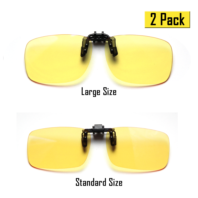 Cyxus (2 Pack) Clip On Blue Light Blocking Computer Glasses Anti UV Eyestrain Unisex Reading Eyewear 1 Standard and 1 Large Size Yellow Lens Set