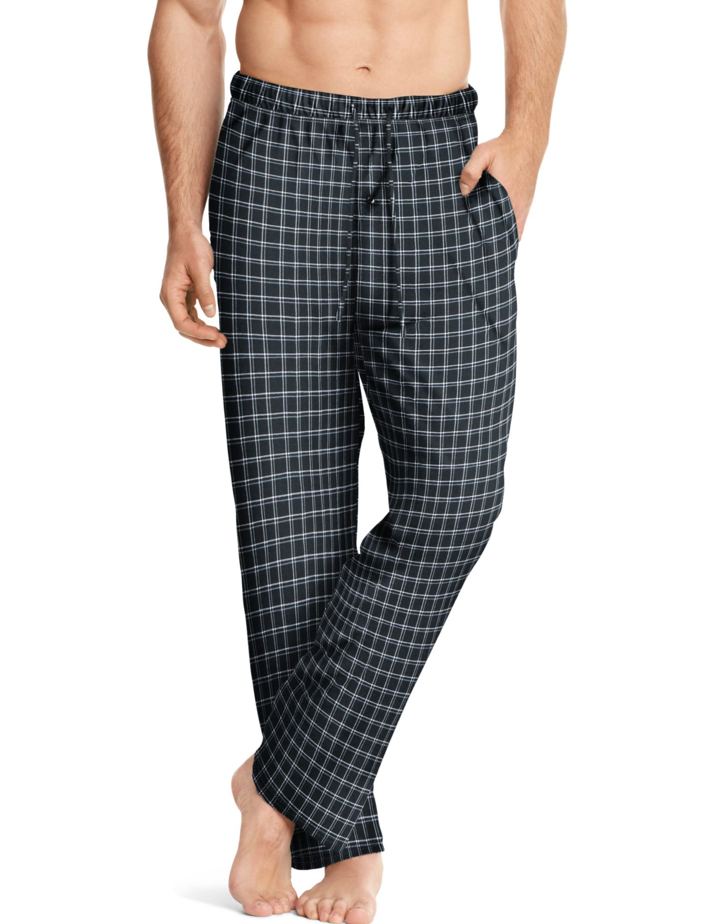 Hanes ComfortSoft Men`s Cotton Printed Lounge Pants - Best-Seller, 5XL, Black
