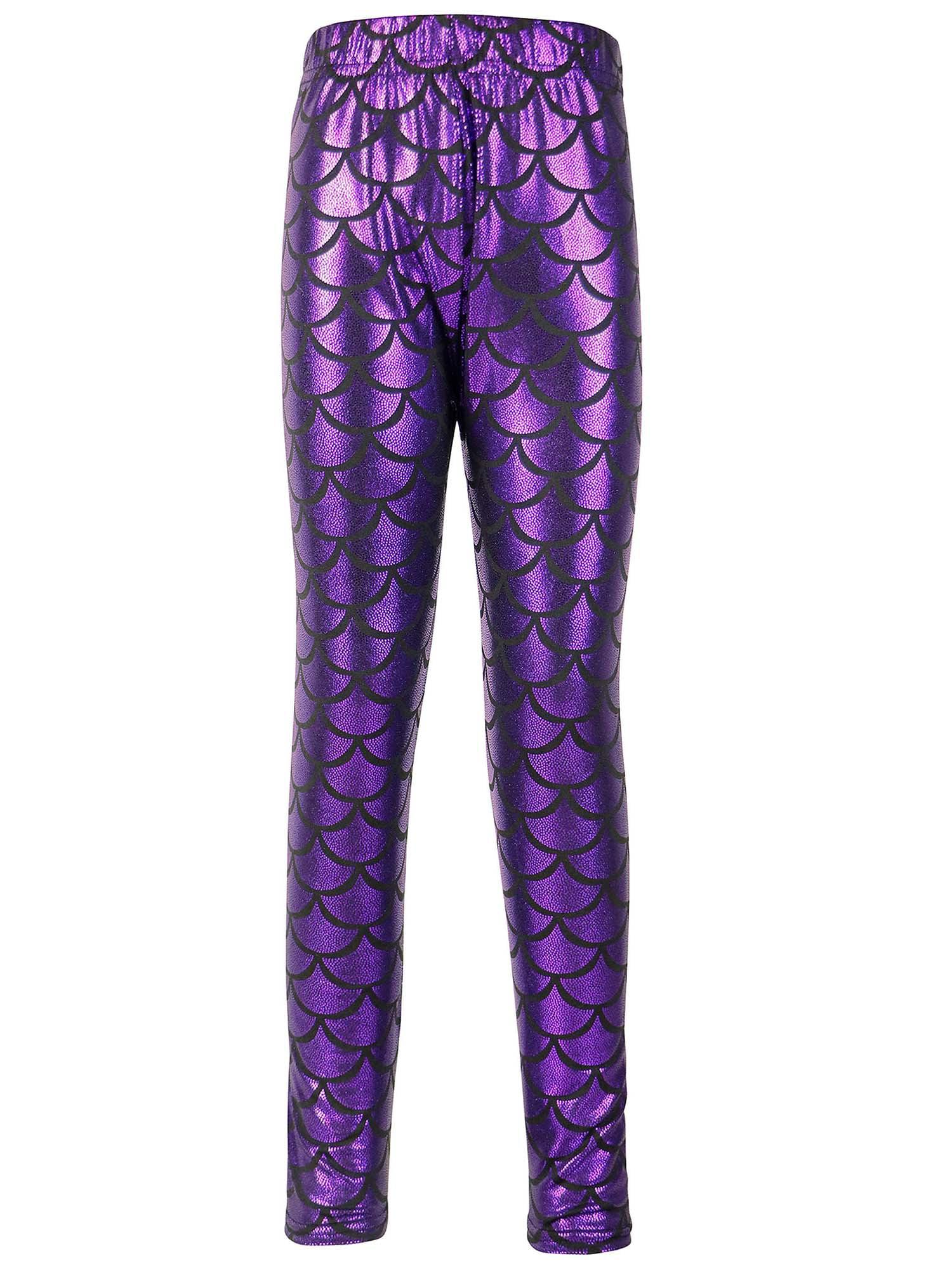 Simplicity Girls Mermaid Fish Scale Print Full Length Leggings Pants, Purple, S