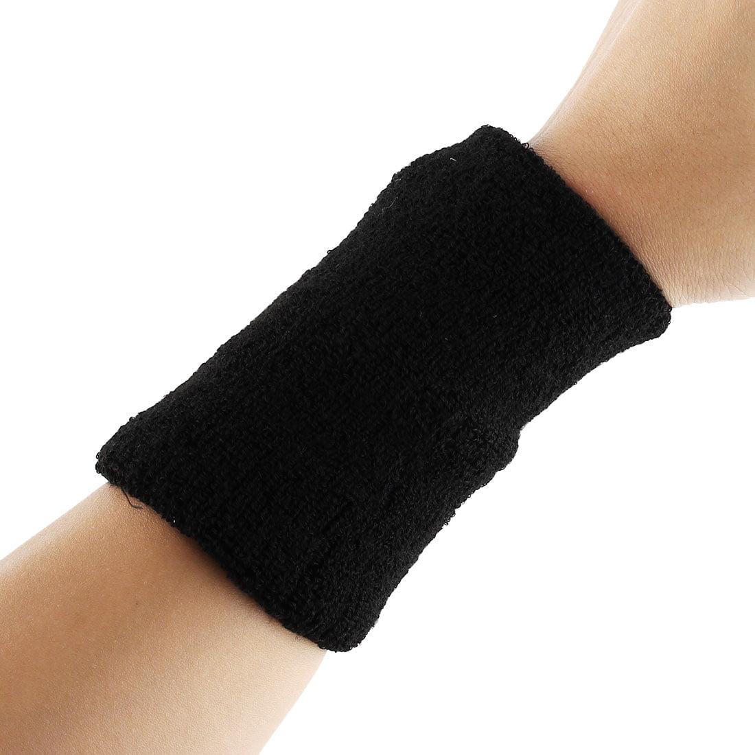 Basketball Gym Workout Sport Wrist Support Sweatband Wristband Black 2pcs