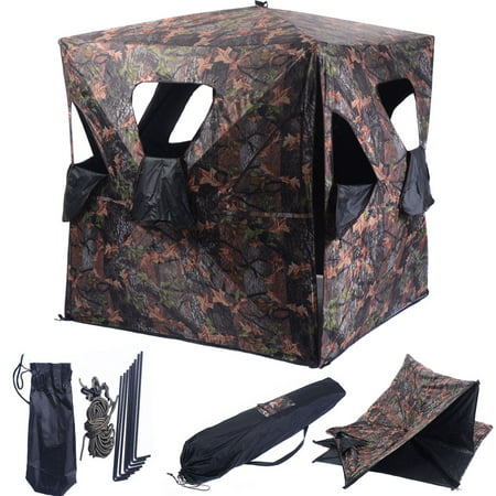 Costway Ground Hunting Blind Portable Deer Pop Up Camo Hunter Weather Proof Mesh Window