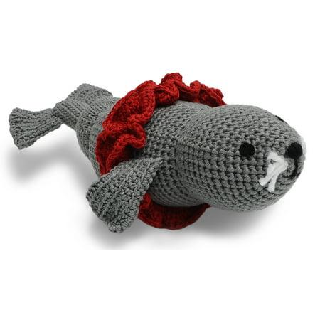 Grey-Red Seal Toy Handmade Amigurumi Stuffed Toy Knit Crochet Doll VAC](Stuffed Seal)