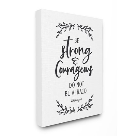 Stupell Be Strong And Courageous Leaves Canvas Art, 16 x 20 ()