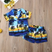 Baby Boys Summer Clothes Beach Shirt Shorts Suit Navy Blue Cute Pattern Print Rompers Outfit Set