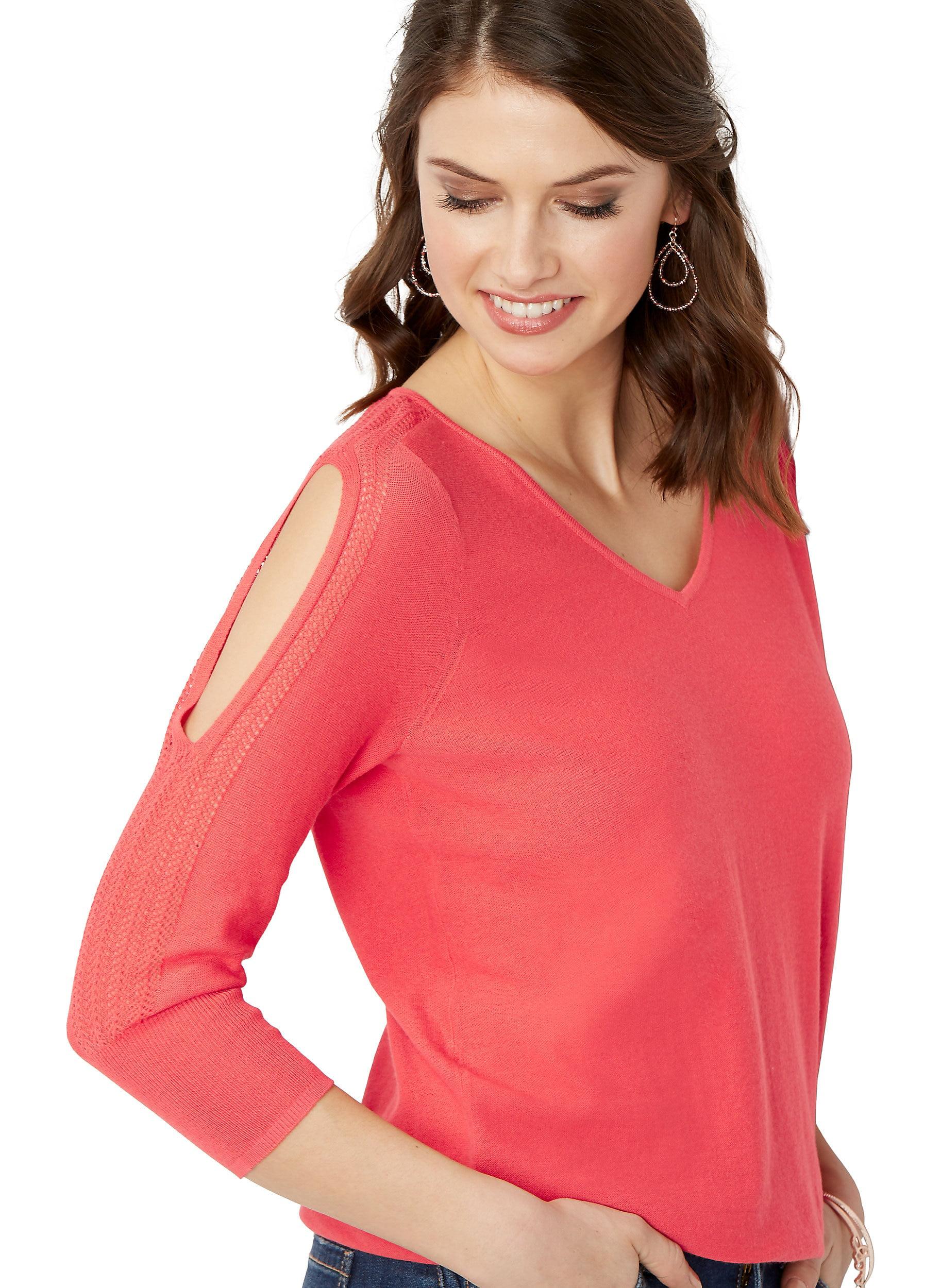 Open Sleeve Banded Bottom Sweater