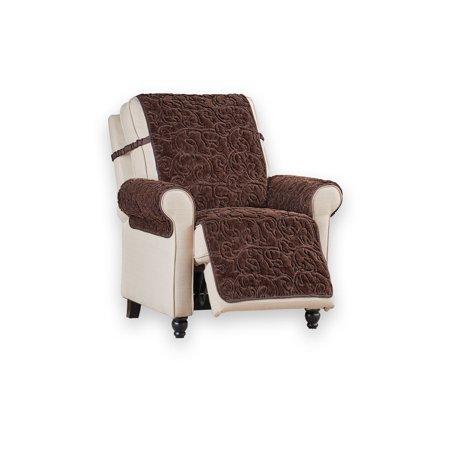 Plush Faux Fur Reversible Furniture Protector Cover Microfiber Fabric Reverse Side Recliner Chocolate