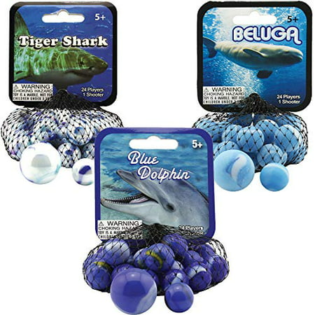 Mega Marbles 3 Pack - Blue Dolphin, Tiger Shark, & Beluga Game Nets - Includes 1 Shooter Marble & 24 Player Marbles Per (Marble Blue Tiger)