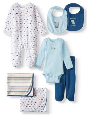 Garanimals Newborn Baby Boy Receiving Blanket Baby Shower Layette Gift Set, 7pc