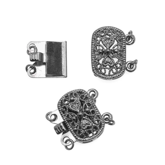 Gun Metal Plated Oval Box Clasp - Ornate Beaded Filigree - 14.5x15.5mm (2)