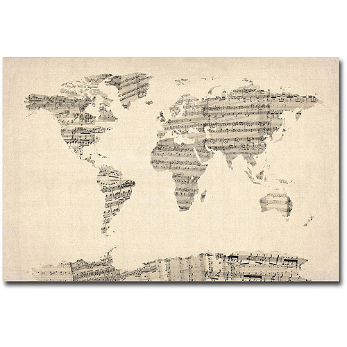 "Michael Tompsett ""Old Sheet Music World Map"""