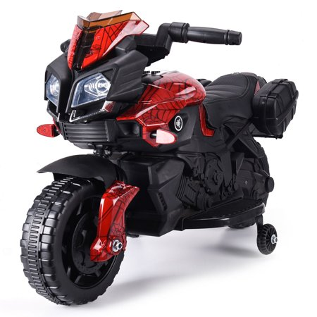 Jaxpety 6V Kids Ride On Motorcycle Car Battery Powered 4 Wheel Bicycle Electric Toy Red ()