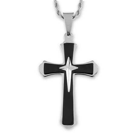Men's Two Tone Stainless Steel Flared Triple Layer Cross Pendant