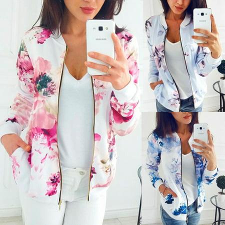 Multitrust Fashion Women Ladies Retro Floral Zipper Up Bomber Jacket Casual Coat Outwear