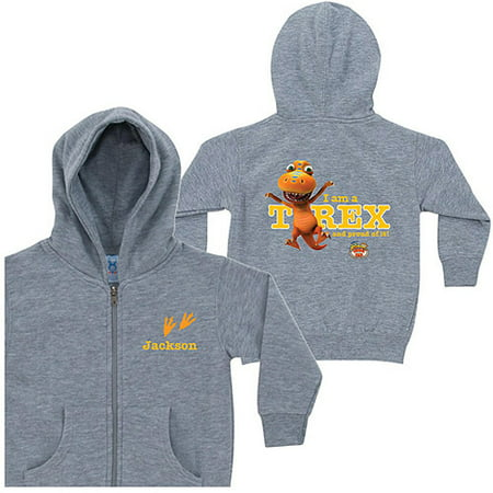 Personalized Dinosaur Train Proud T-Rex Gray Boys' Zip-Up Hoodie