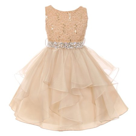 Girls Gold Stretch Lace Crystal Tulle Ruffle Junior Bridesmaid - Girls Gold Dresses