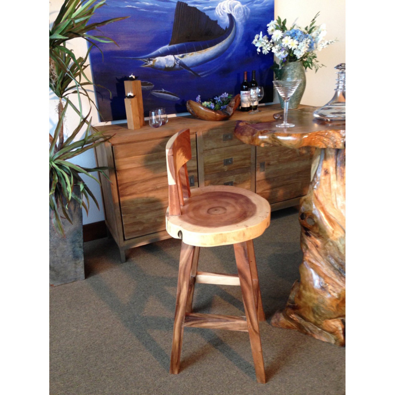 Chic Teak Suar Costa Mesa Bar Stool