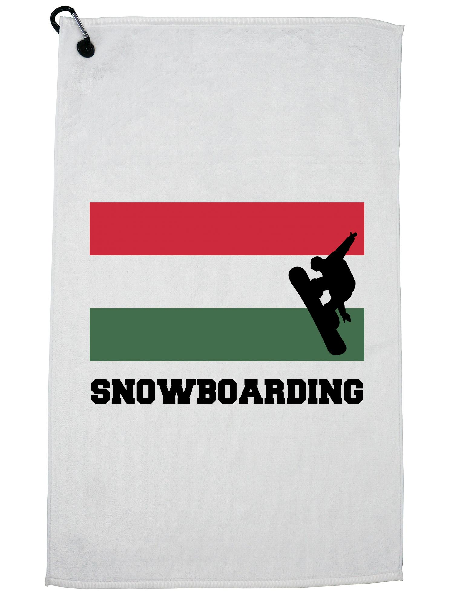 Hungary Olympic Snowboarding Flag Silhouette Golf Towel with Carabiner Clip by Hollywood Thread